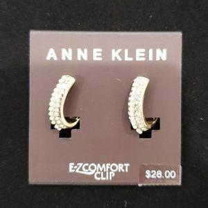 Anne Klein EZ Comfort Clip On Earrings Gold Hoop